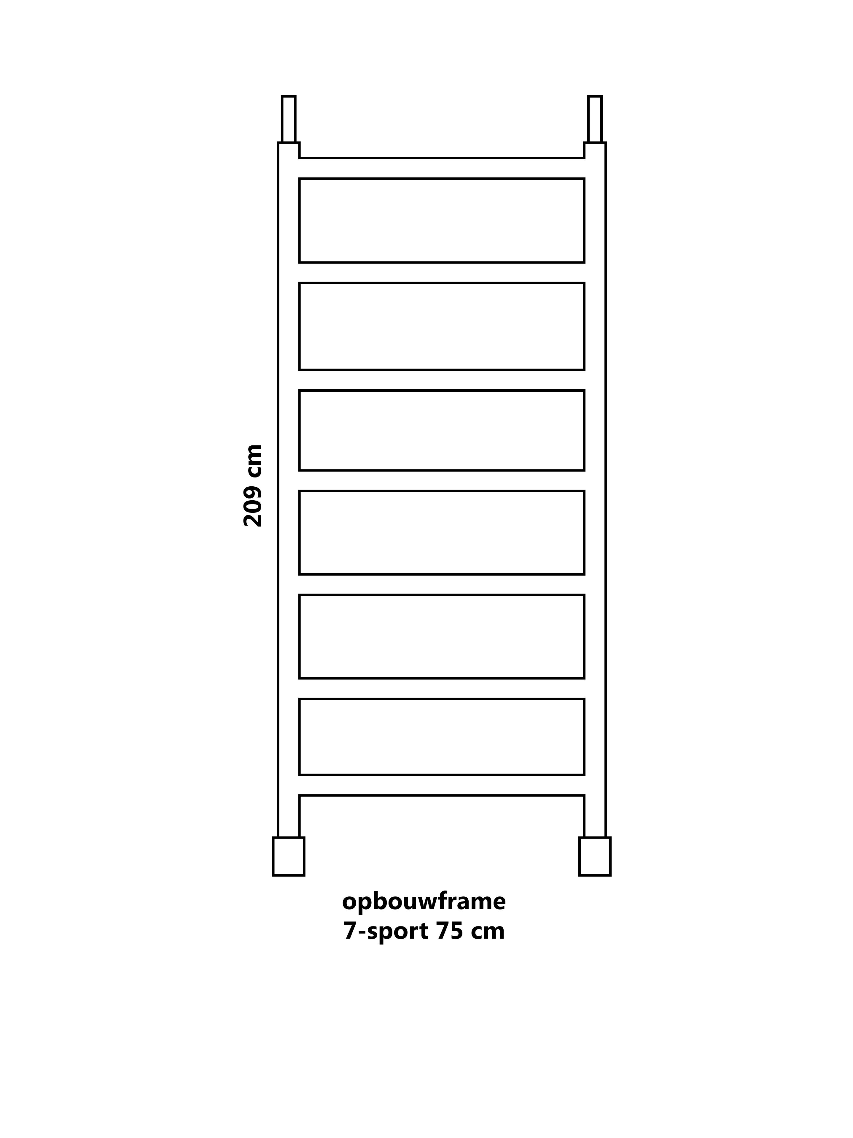 Steiger opbouwframe 7-sport 75 cm